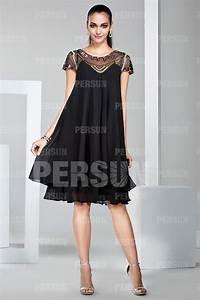 Robe Pour Femme Ronde : robe boh me courte noire encolure illusion perl e pour ~ Nature-et-papiers.com Idées de Décoration