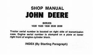 John Deere 1020  1520  1530  2020  2030 Tractors Repair