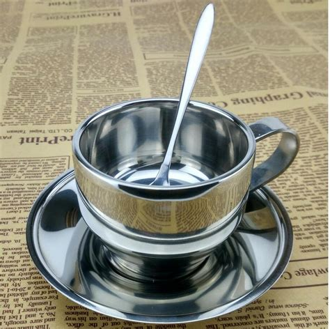 Printed double wall coffee cup product details. Double Wall Europe Style Stainless Steel Coffee Cup Set Espresso Cups Mug with Spoon and Saucer ...