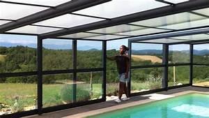 abri piscine adosse veranda telescopique pour piscine With prix d une piscine interieure