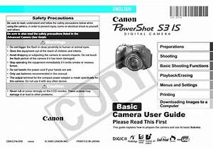 Canon Powershot S3 Is Manual  Owner User Guide And