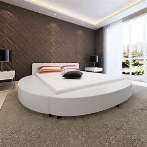 Lit 180 Cm : la boutique en ligne lit en similicuir rond 180 cm blanc ~ Teatrodelosmanantiales.com Idées de Décoration