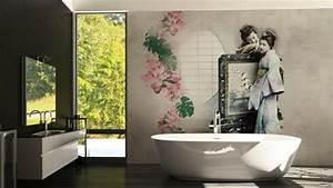 Feuchtraumtapete Fürs Bad : deko ideen badezimmer tapete waschbares vinyl als schmuckst ck f r die w nde ~ Watch28wear.com Haus und Dekorationen