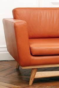 Canape scandinave danois cuir fauve vintage design 1950 for Canape cuir cognac vintage