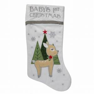20, U0026quot, White, Baby, U0026, 39, S, First, Christmas, Stocking, With, Baby, Deer, And, Plush, White, Cuff