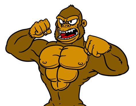 Desenho de Gorila forte pintado e colorido por Brayner o