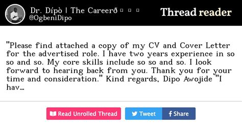 """I do humbly beseech thee to look kindly upon my curriculum vitae attached herein. Thread by @OgbeniDipo: """"""""Please find attached a copy of my CV and Cover Letter for the ..."""