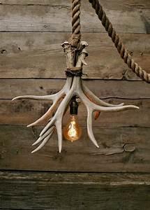 The, Cabin, Lit, Chandelier, -, Antler, Shed, Pendant, Rope, Light