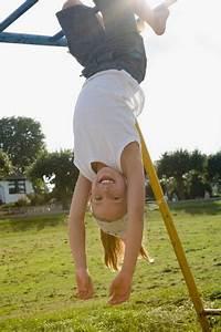 Girl, Hanging, Upside, Down, Stock, Photo