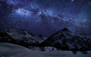 Mountains landscapes nature winter snow night stars ...