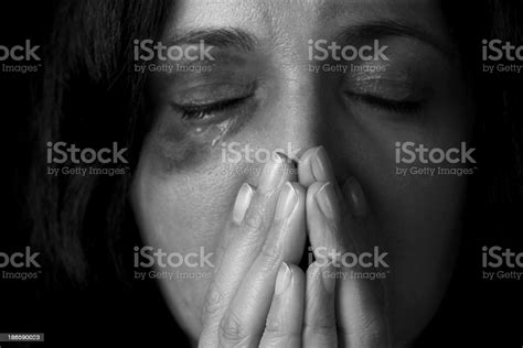 Dramatic Portrait Of Female Victim Of Domestic Violence ...