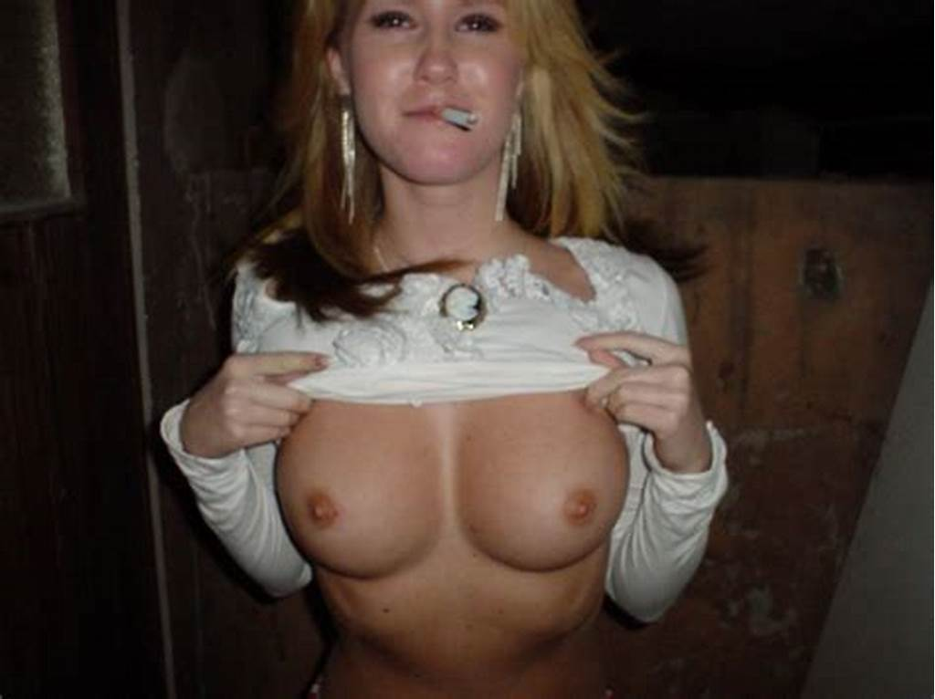 #Smoking #Blonde #Shows #Her #Perfect #Big #Boobs